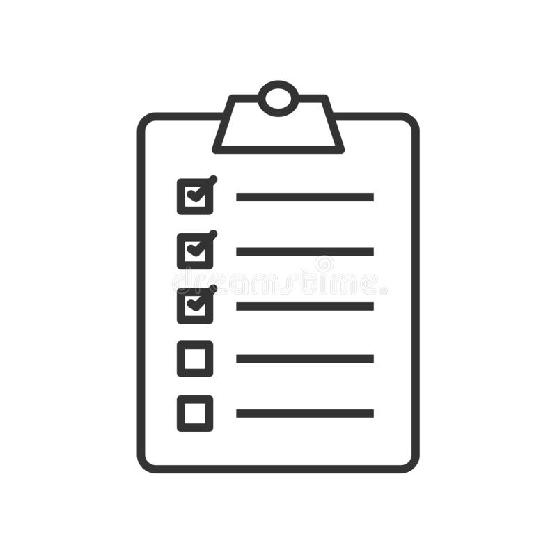 Ícone linear da lista de verificação do Golfer ilustração stock