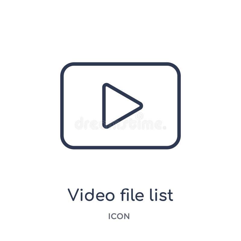 Ícone linear da lista do arquivo de vídeo da coleção eletrônica do esboço da suficiência do material Linha fina vetor da lista do ilustração royalty free