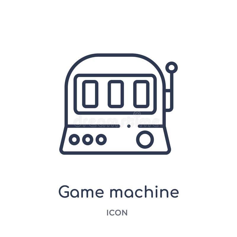 Ícone linear da máquina de jogo do entretenimento e da coleção do esboço da arcada Linha fina vetor da máquina de jogo isolado no ilustração do vetor
