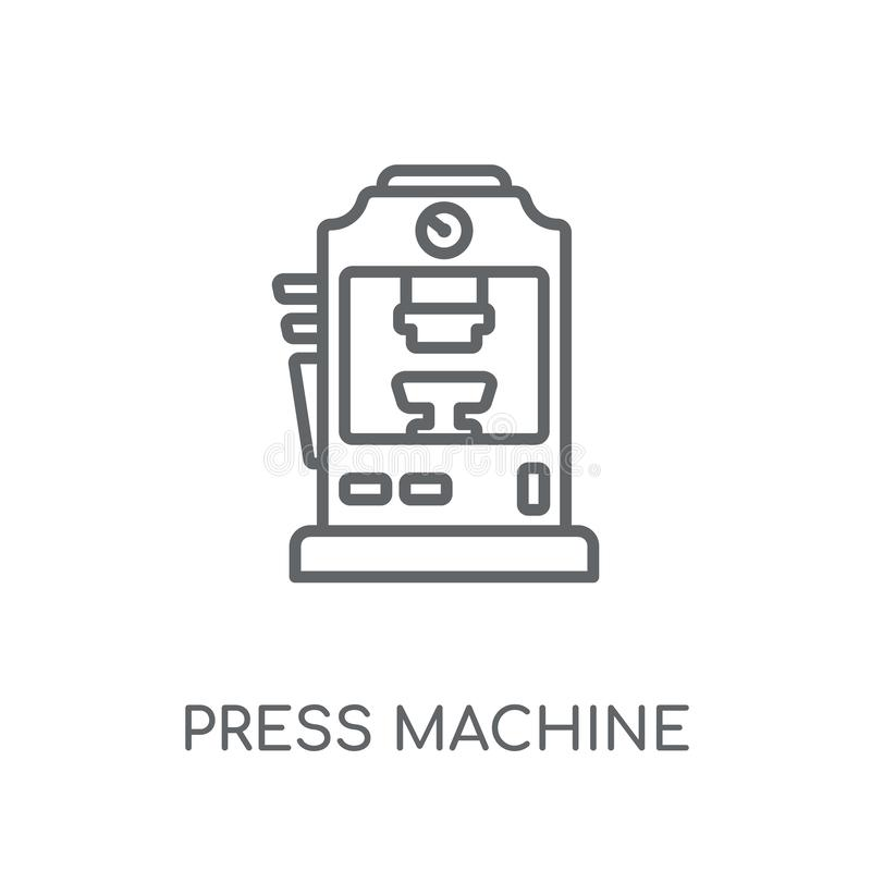 Ícone linear da máquina da imprensa Engodo moderno do logotipo da máquina da imprensa do esboço ilustração do vetor