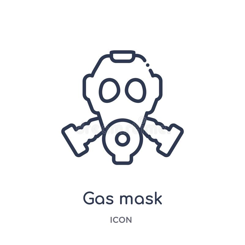 Ícone linear da máscara de gás da coleção do esboço do exército e da guerra Linha fina vetor da máscara de gás isolado no fundo b ilustração royalty free