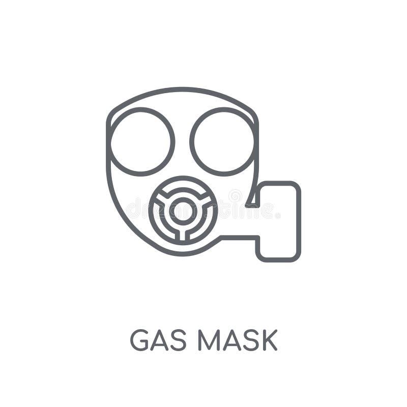 Ícone linear da máscara de gás Conceito moderno do logotipo da máscara de gás do esboço no wh ilustração stock
