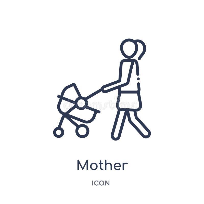 Ícone linear da mãe da coleção do esboço das relações de família Linha fina vetor da mãe isolado no fundo branco mãe na moda ilustração stock