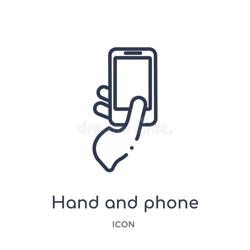 Ícone linear da mão e do telefone das mãos e da coleção do esboço dos guestures Linha fina mão e ícone do telefone isolado no fun ilustração royalty free