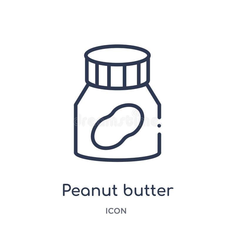 Ícone linear da manteiga de amendoim da coleção do esboço do Fastfood Linha fina vetor da manteiga de amendoim isolado no fundo b ilustração stock