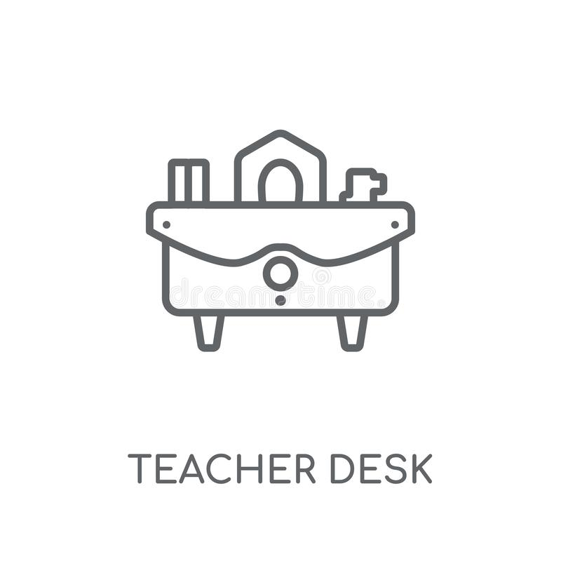 Ícone linear da mesa do professor Conce moderno do logotipo da mesa do professor do esboço ilustração stock