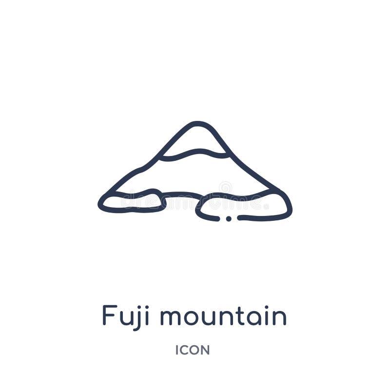 Ícone linear da montanha de fuji da coleção do esboço das construções Linha fina vetor da montanha de fuji isolado no fundo branc ilustração do vetor