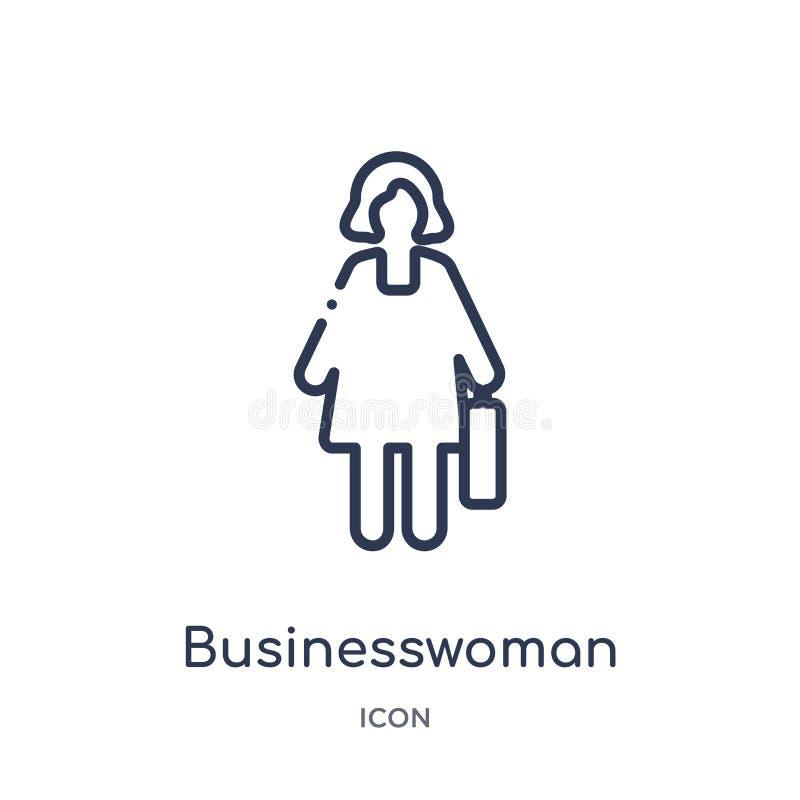 Ícone linear da mulher de negócios da coleção do esboço dos lucros do trabalho Linha fina ícone da mulher de negócios isolado no  ilustração do vetor