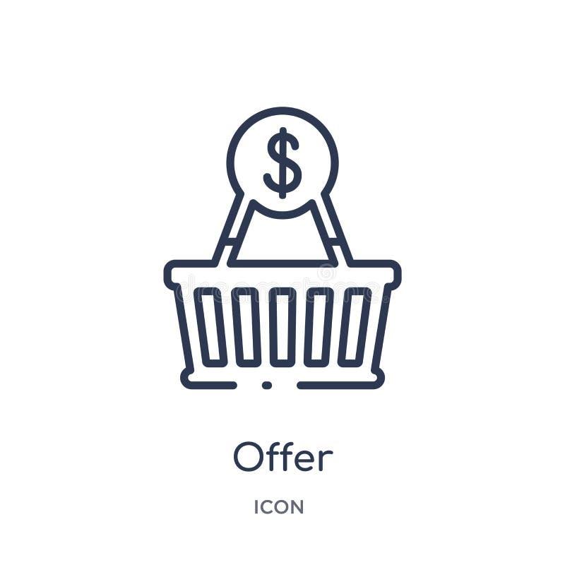 Ícone linear da oferta da coleção de mercado do esboço Linha fina ícone da oferta isolado no fundo branco ilustração na moda da o ilustração do vetor