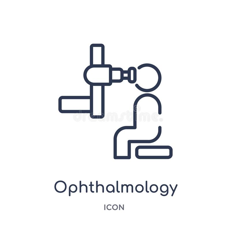 Ícone linear da oftalmologia da saúde e da coleção médica do esboço Linha fina ícone da oftalmologia isolado no fundo branco ilustração royalty free