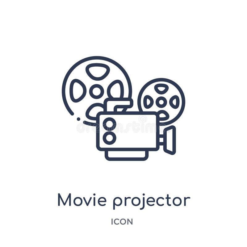 Ícone linear da opinião dianteira de projetor de filme da coleção do esboço do cinema Linha fina vetor da opinião dianteira de pr ilustração stock