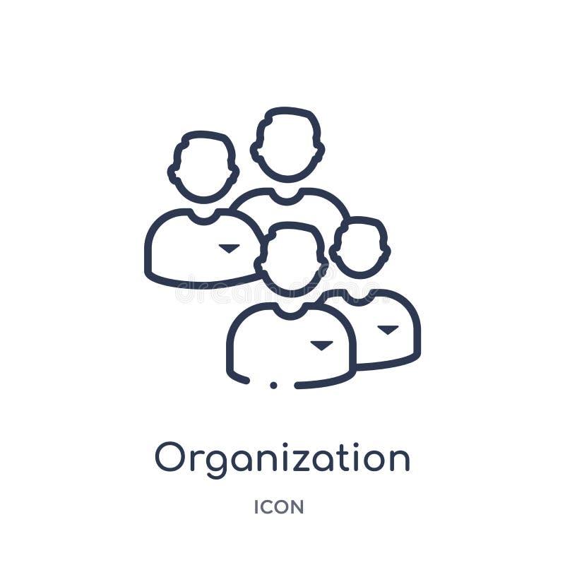 Ícone linear da organização da coleção do esboço da economia de Digitas Linha fina vetor da organização isolado no fundo branco ilustração stock