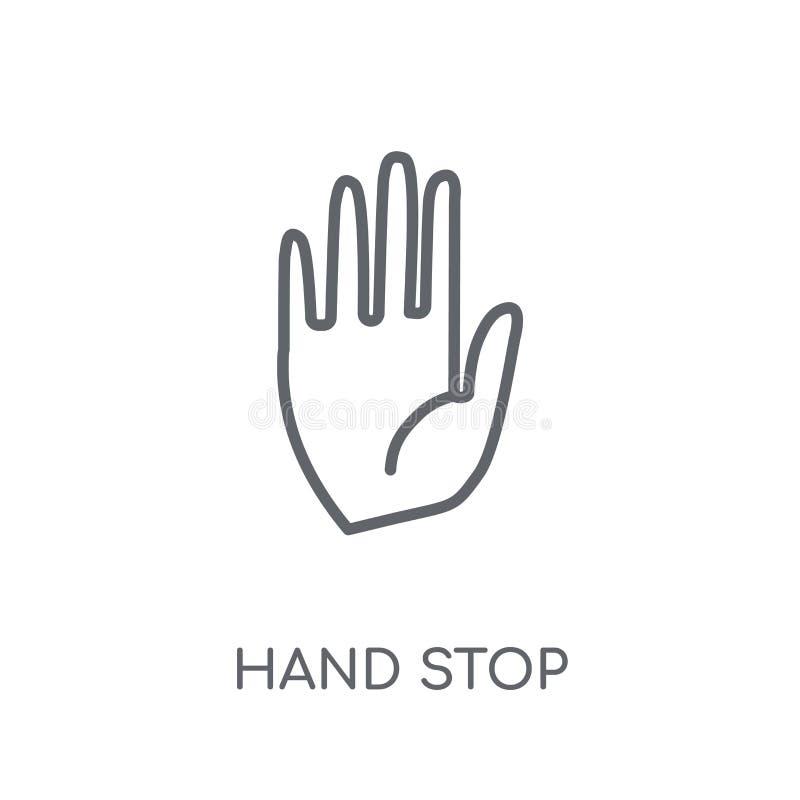 ícone linear da parada da mão Conceito moderno do logotipo da parada da mão do esboço sobre ilustração royalty free