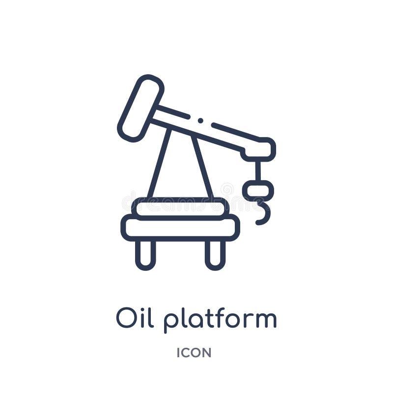 Ícone linear da plataforma petrolífera da coleção do esboço da indústria Linha fina ícone da plataforma petrolífera isolado no fu ilustração stock