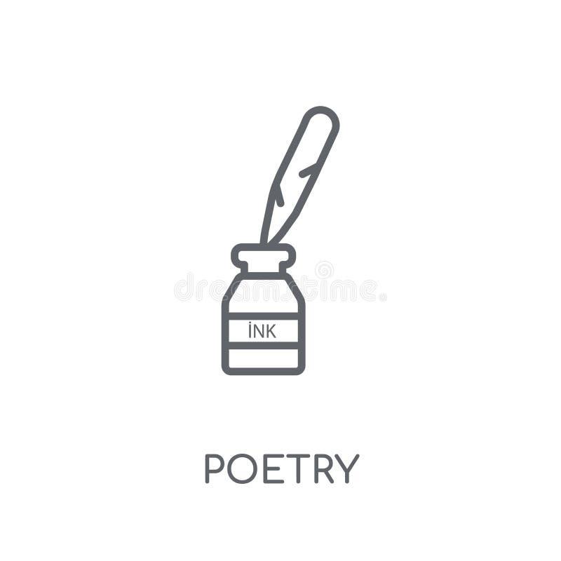 Ícone linear da poesia Conceito moderno do logotipo da poesia do esboço no branco ilustração do vetor