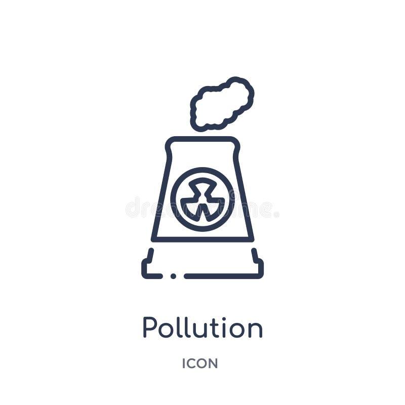 Ícone linear da poluição da coleção do esboço da ecologia Linha fina vetor da poluição isolado no fundo branco poluição na moda ilustração do vetor