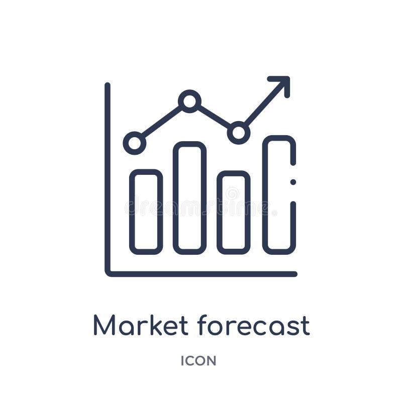 Ícone linear da previsão do mercado da economia de Cryptocurrency e da coleção do esboço da finança A linha fina vetor da previsã ilustração do vetor