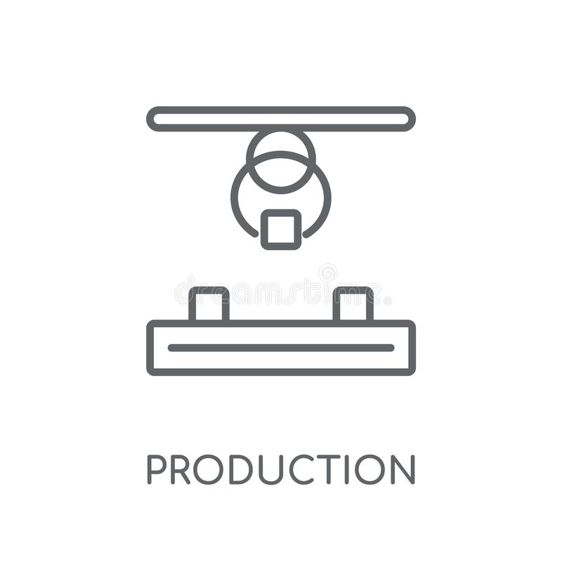 Ícone linear da produção Conceito moderno o do logotipo da produção do esboço ilustração royalty free