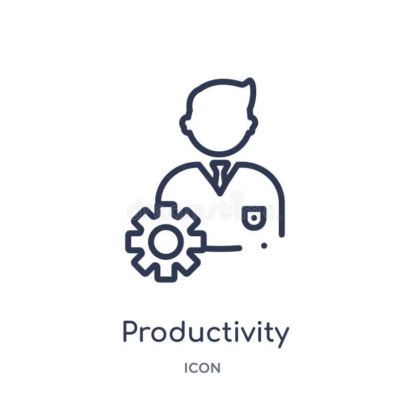 Ícone linear da produtividade da coleção do esboço da economia de Digitas Linha fina vetor da produtividade isolado no fundo bran ilustração stock