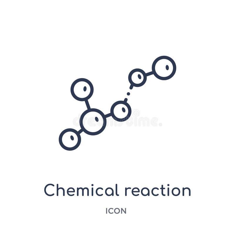 Ícone linear da reação química da coleção do esboço da química Linha fina vetor da reação química isolado no fundo branco ilustração royalty free