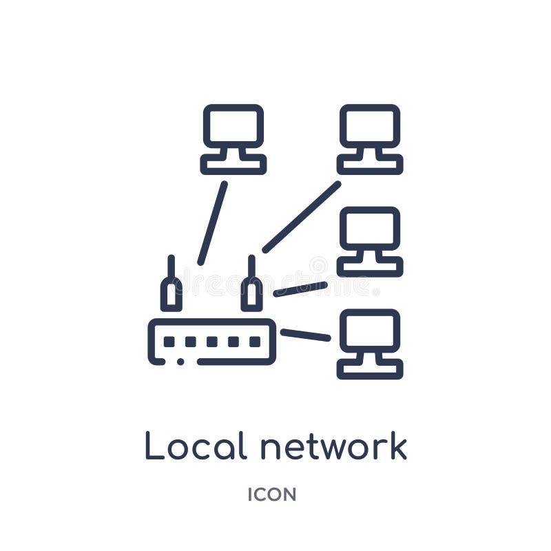 Ícone linear da rede local da segurança do Internet e da coleção do esboço dos trabalhos em rede Linha fina ícone da rede local i ilustração stock