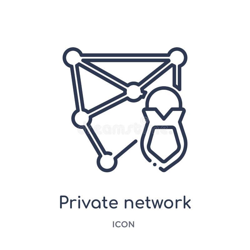 Ícone linear da rede privada da segurança do Internet e da coleção do esboço dos trabalhos em rede Linha fina ícone da rede priva ilustração royalty free