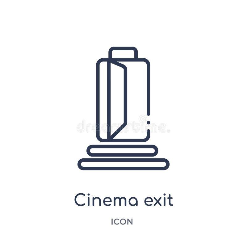 Ícone linear da saída do cinema da coleção do esboço do cinema Linha fina vetor da saída do cinema isolado no fundo branco saída  ilustração do vetor