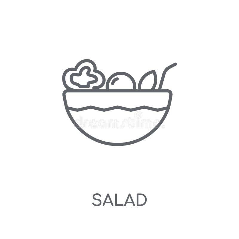 Ícone linear da salada Conceito moderno do logotipo da salada do esboço nos vagabundos brancos ilustração do vetor