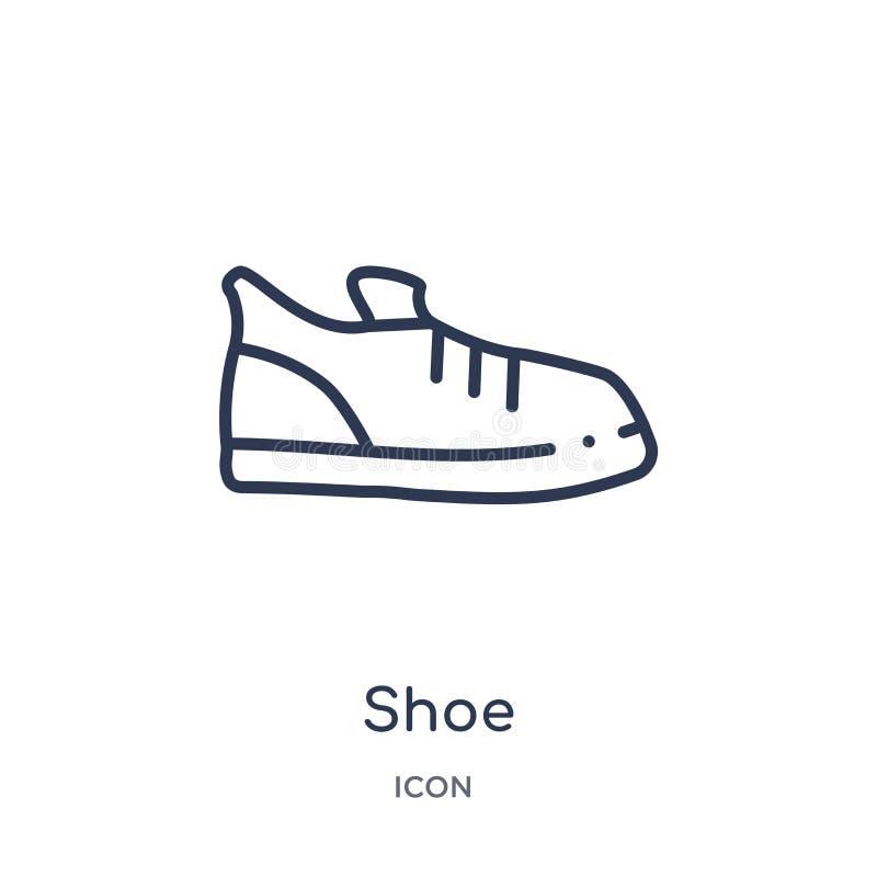 Ícone linear da sapata da coleção do esboço da educação Linha fina vetor da sapata isolado no fundo branco ilustração na moda da  ilustração royalty free