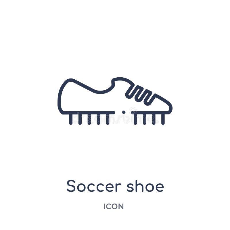 Ícone linear da sapata do futebol da coleção do esboço da roupa Linha fina vetor da sapata do futebol isolado no fundo branco Sap ilustração do vetor