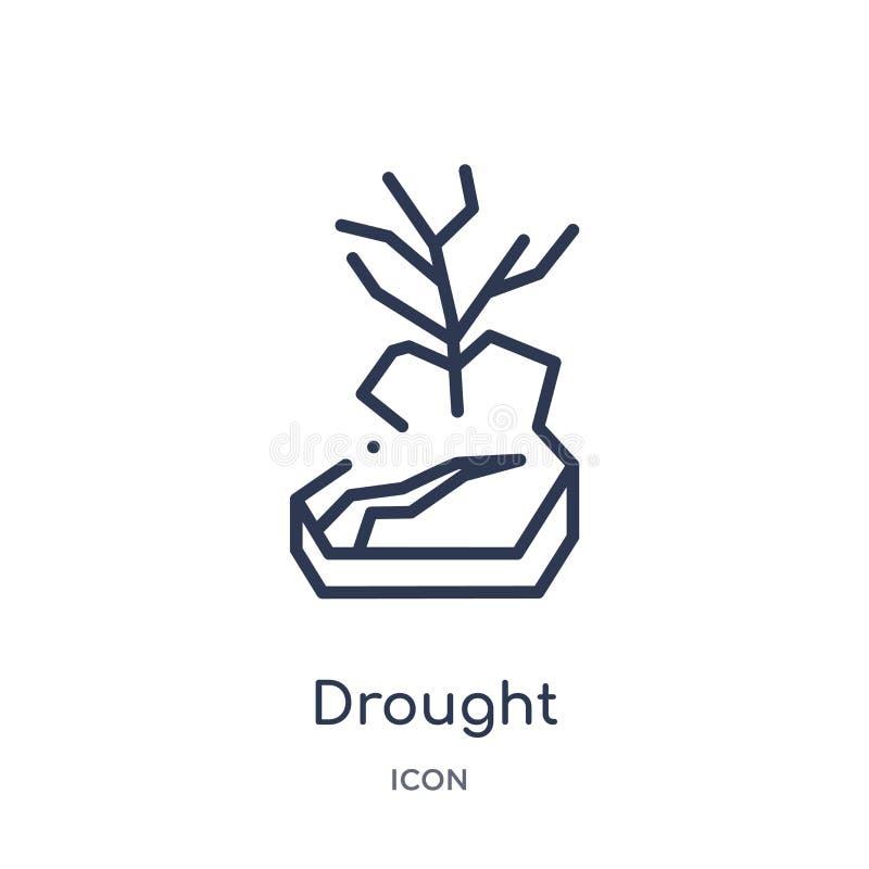 Ícone linear da seca da coleção do esboço da meteorologia Linha fina ícone da seca isolado no fundo branco seca na moda ilustração stock