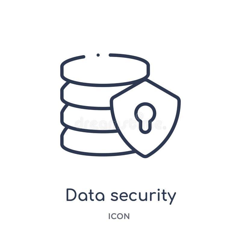 Ícone linear da segurança de dados da coleção do esboço da inteligência artificial Linha fina vetor da segurança de dados isolado ilustração royalty free