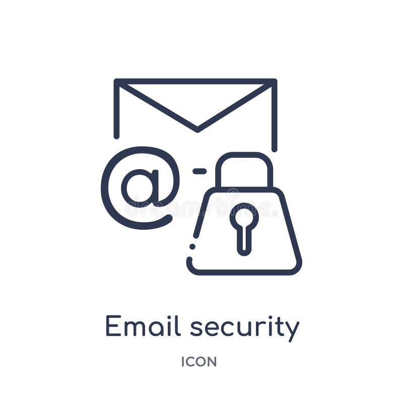 Ícone linear da segurança do e-mail da segurança do Internet e da coleção do esboço dos trabalhos em rede Linha fina ícone da seg ilustração stock