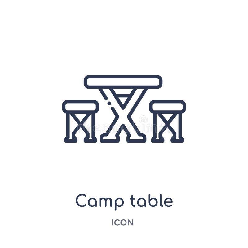 Ícone linear da tabela do acampamento da coleção de acampamento do esboço Linha fina vetor da tabela do acampamento isolado no fu ilustração do vetor