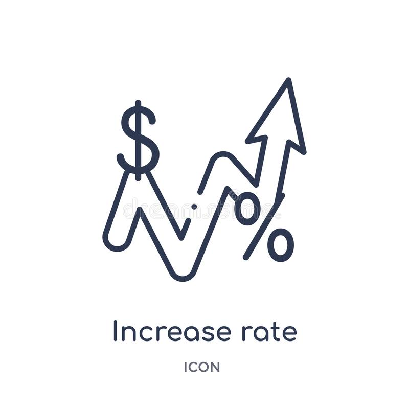 Ícone linear da taxa do aumento da coleção do esboço do negócio Linha fina ícone da taxa do aumento isolado no fundo branco aumen ilustração stock