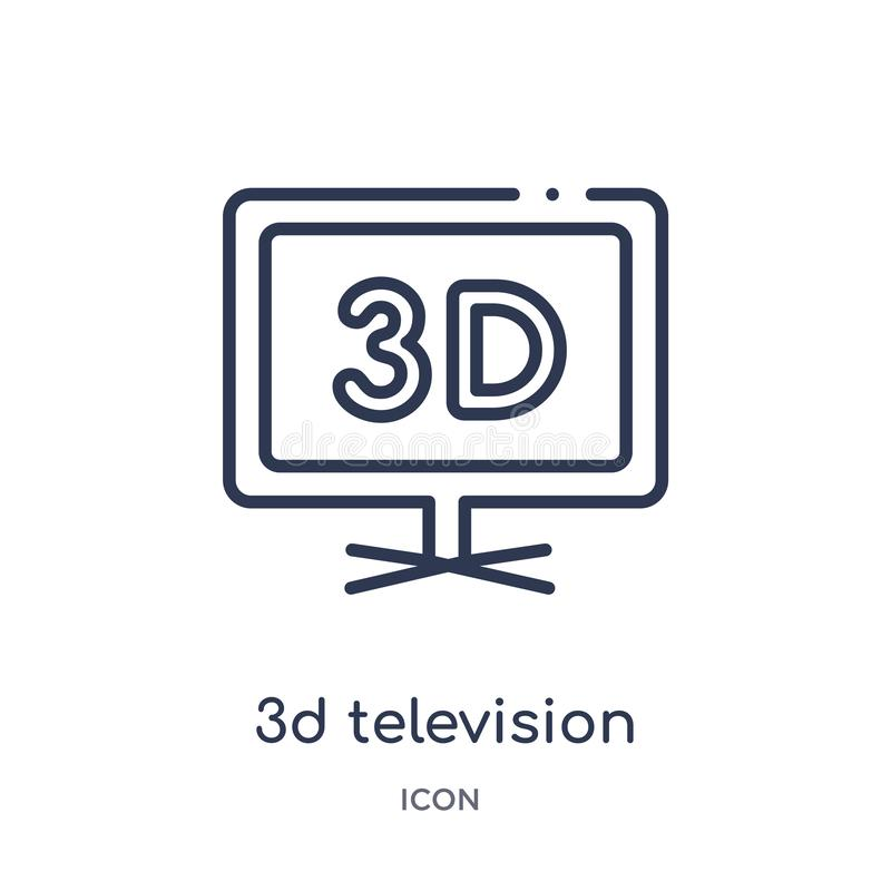 Ícone linear da televisão 3d da coleção do esboço do cinema Linha fina vetor da televisão de 3d isolado no fundo branco 3d ilustração royalty free