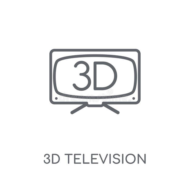 ícone linear da televisão 3D Engodo moderno do logotipo da televisão do esboço 3D ilustração do vetor