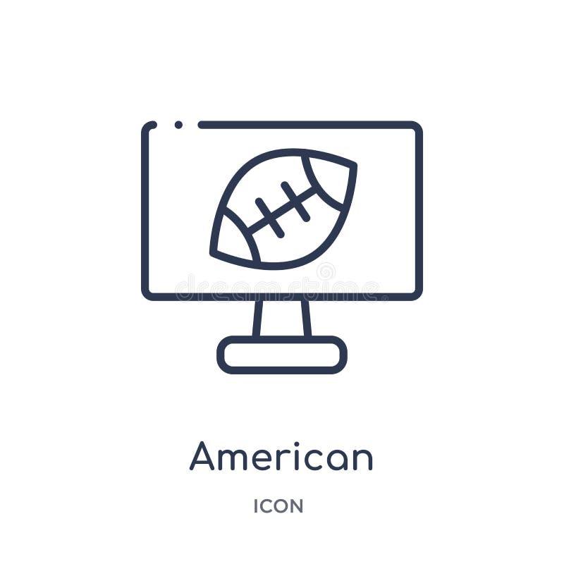 Ícone linear da televisão do futebol americano da coleção do esboço do futebol americano Linha fina vetor da televisão do futebol ilustração do vetor