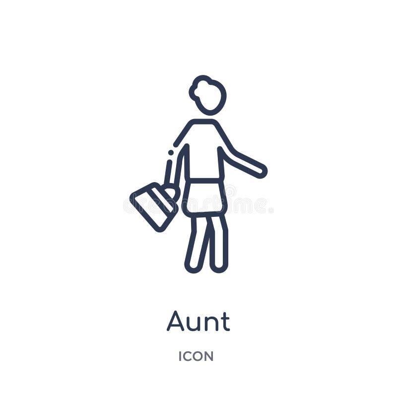 Ícone linear da tia da coleção do esboço das relações de família Linha fina vetor da tia isolado no fundo branco tia na moda ilustração royalty free