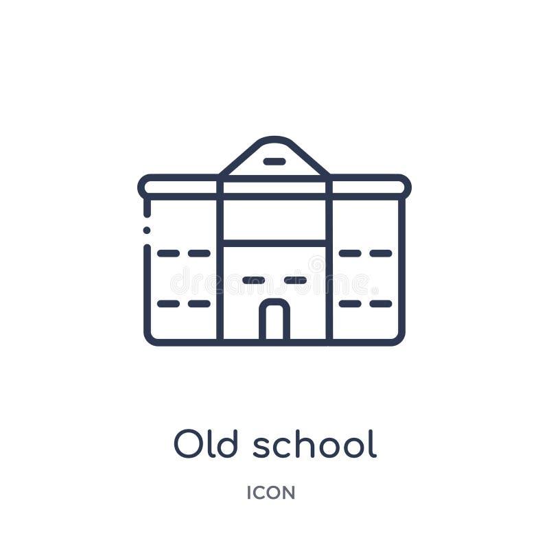 Ícone linear da velha escola da coleção do esboço da educação Linha fina vetor da velha escola isolado no fundo branco Velha esco ilustração royalty free