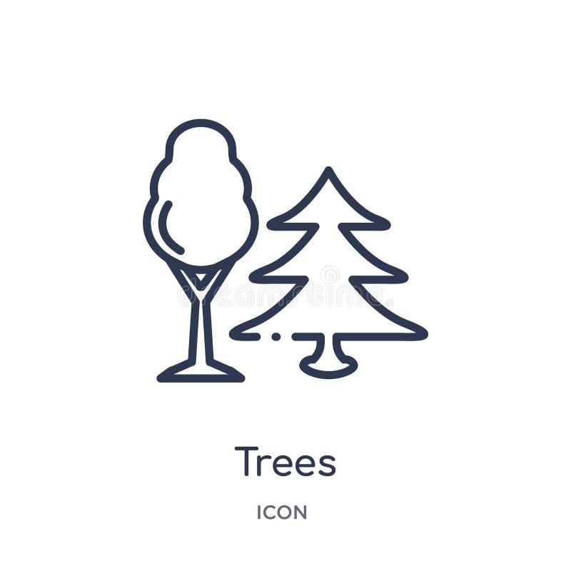 Ícone linear das árvores da coleção de acampamento do esboço Linha fina vetor das árvores isolado no fundo branco ilustração na m ilustração royalty free
