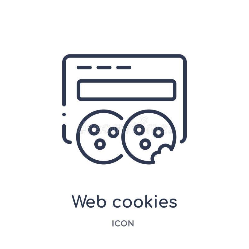 Ícone linear das cookies da Web da segurança do Internet e da coleção do esboço dos trabalhos em rede Linha fina ícone das cookie ilustração do vetor