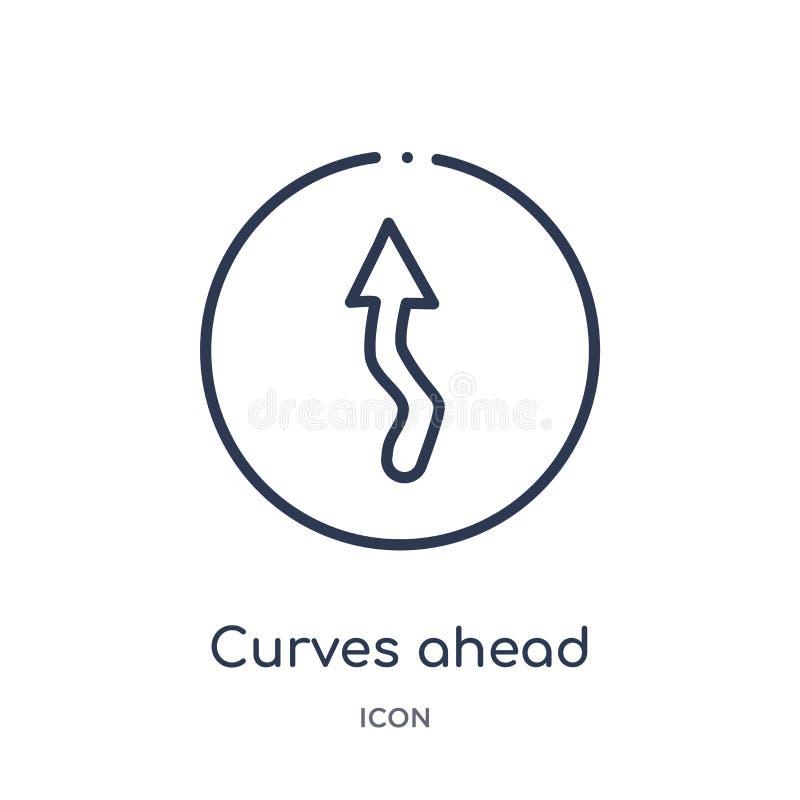 Ícone linear das curvas adiante coleção do esboço dos mapas e das bandeiras A linha fina curva adiante o ícone isolado no fundo b ilustração stock