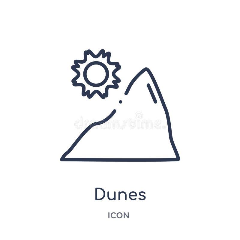 Ícone linear das dunas da coleção do esboço do deserto Linha fina vetor das dunas isolado no fundo branco ilustração na moda das  ilustração stock