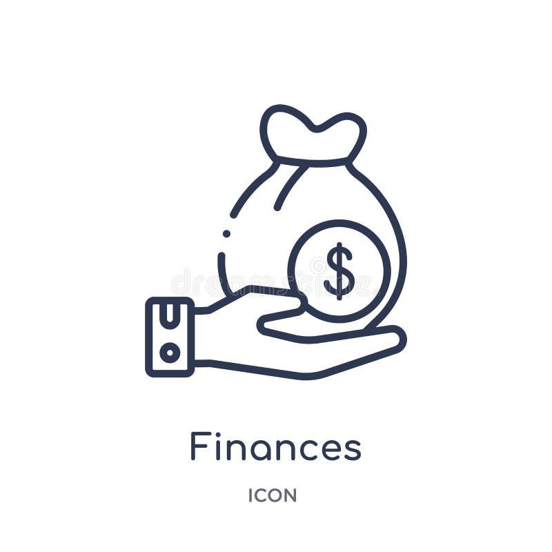 Ícone linear das finanças da coleção do esboço do seguro Linha fina ícone das finanças isolado no fundo branco finanças na moda ilustração royalty free