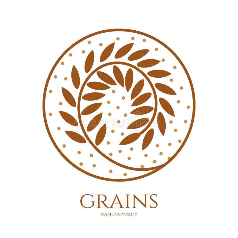 Ícone linear das grões do trigo ou das outras colheitas de grão ilustração stock