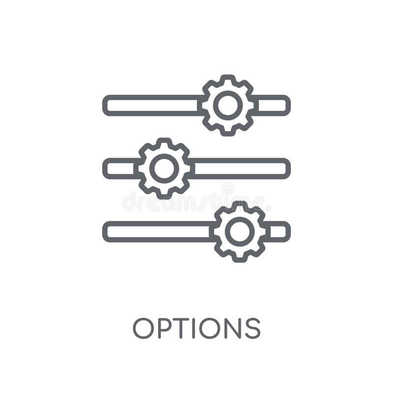 Ícone linear das opções Conceito moderno do logotipo das opções do esboço no whit ilustração stock