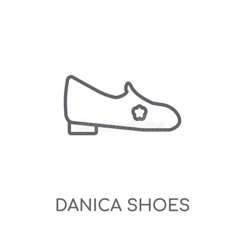 ícone linear das sapatas do danica Conce moderno do logotipo das sapatas do danica do esboço ilustração stock