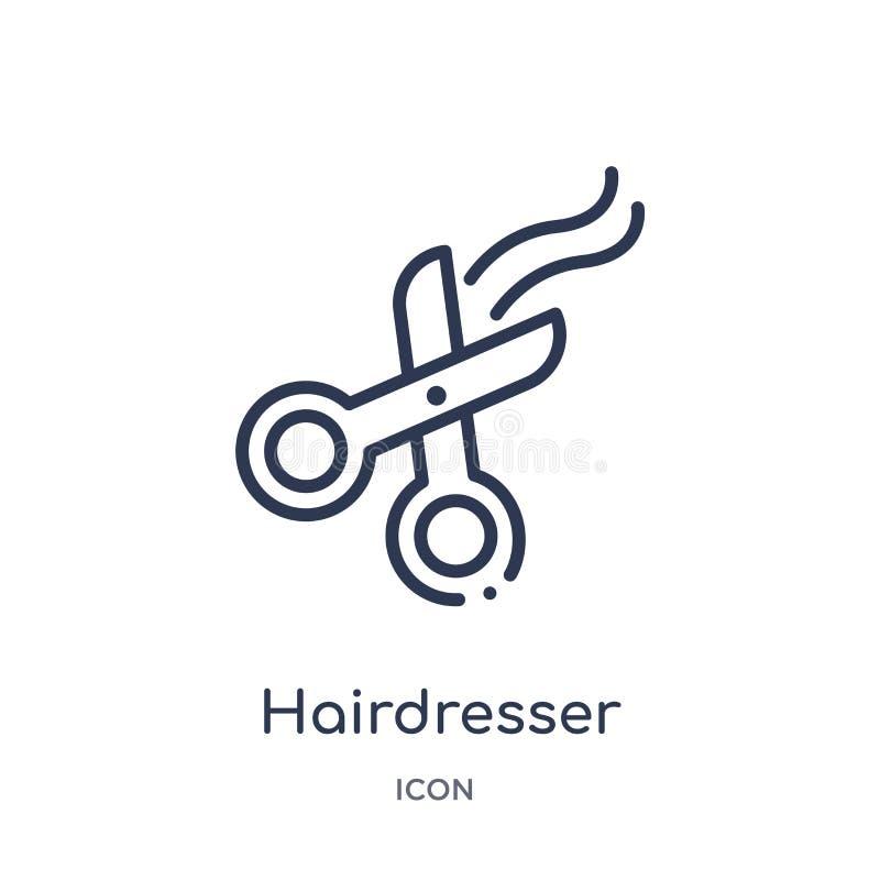Ícone linear das tesouras do cabeleireiro da coleção do esboço da beleza Linha fina ícone das tesouras do cabeleireiro isolado no ilustração do vetor