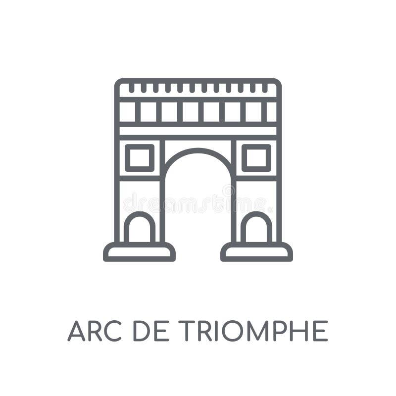 Ícone linear de Arco do Triunfo Logotipo moderno de Arco do Triunfo do esboço ilustração stock